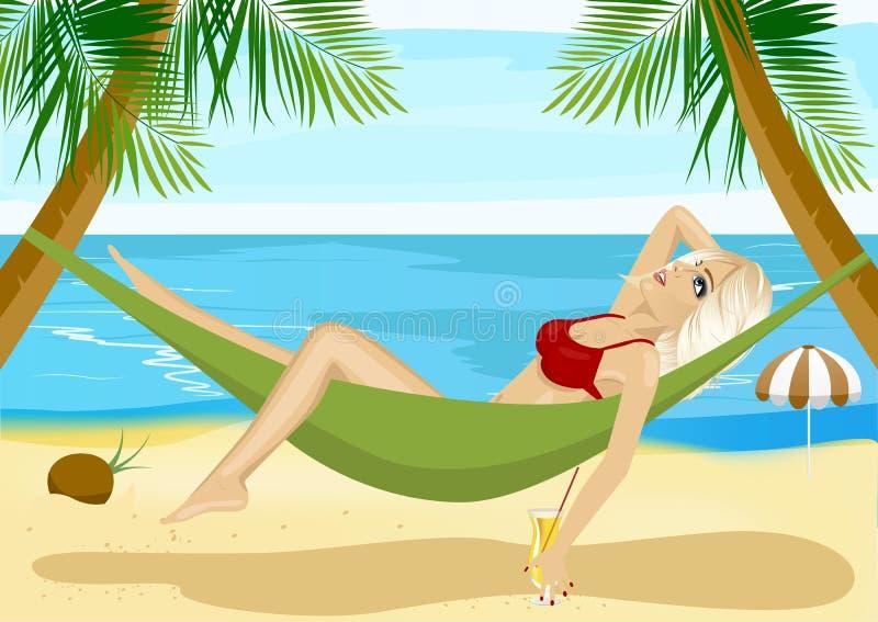 Relajación rubia joven en hamaca en la playa cerca del océano azul ilustración del vector