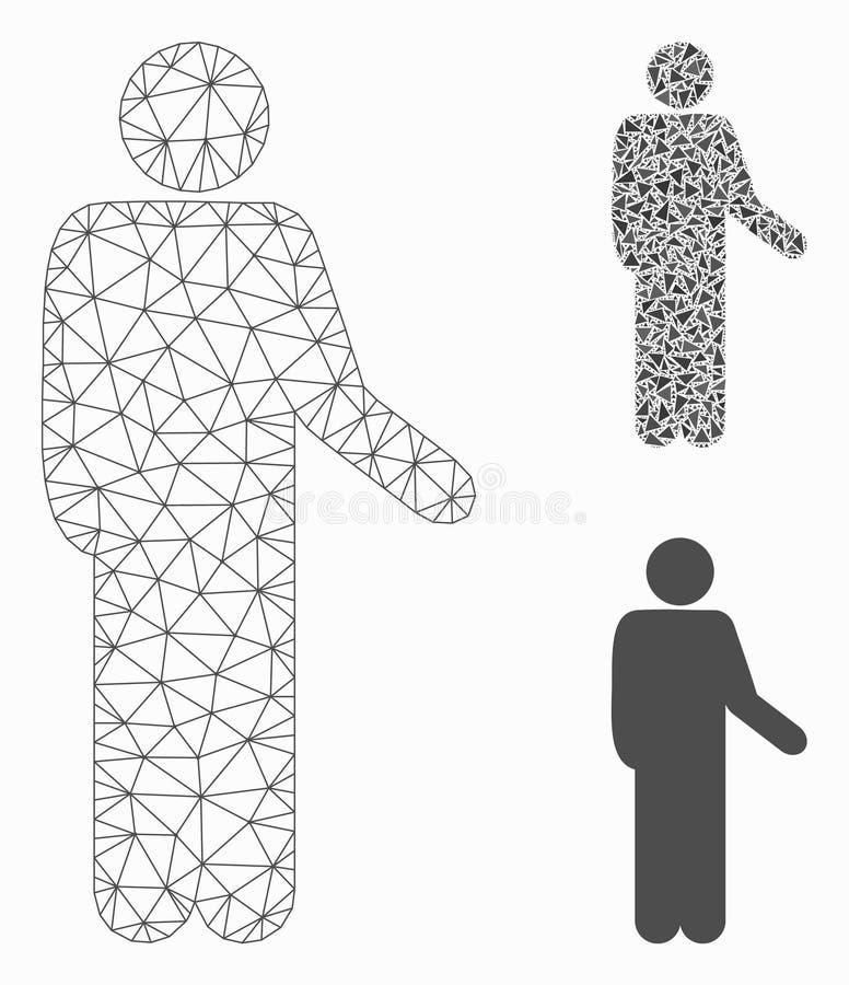 Relaje el vector permanente Mesh Carcass Model de la actitud y el icono del mosaico del triángulo ilustración del vector