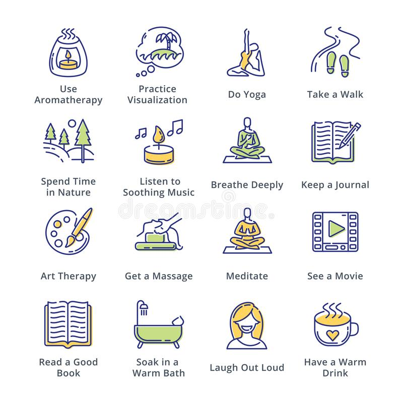 Relaks technik ikony - kontur serie ilustracja wektor