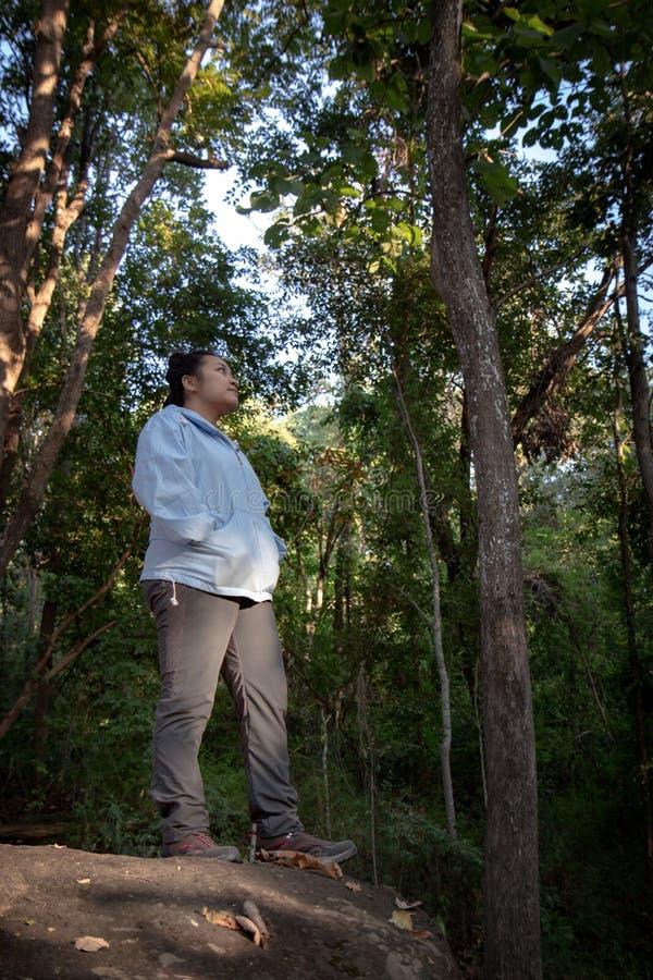 Relaks w naturze: Azjatka stojąca w lesie Lubiona kobieta ciesząca się relaksem na wolności fotografia royalty free