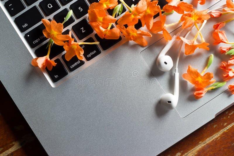 Relaksujący czasu pojęcie, świezi kwiaty i słuchawka na laptopie w lecie, obrazy stock