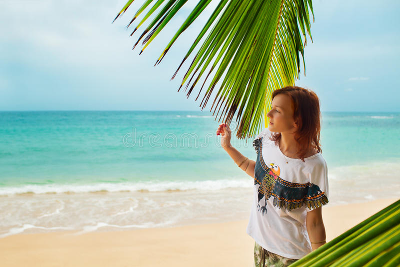 Relaksujący na pilot plaży, Sri Lanka obraz stock