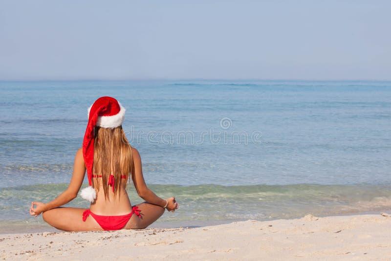 Relaksujący plażowy boże narodzenie wakacje fotografia stock