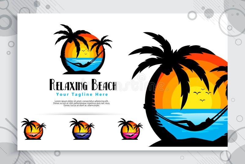 Relaksujący plażowy wektorowy logo z sylwetek ilustracyjnymi relaksującymi ludźmi, zmierzchem i kokosowym drzewem, może używać dl ilustracji