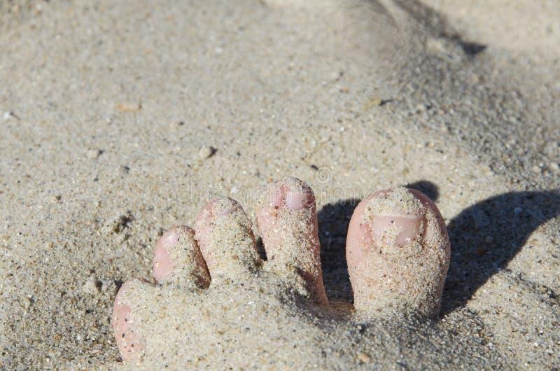 Relaksujący przy plażą z twój ciekami na białym piasku, zdjęcie stock