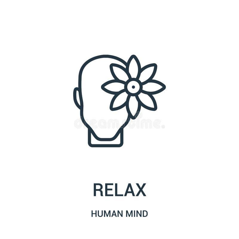 relaksuje ikona wektor od ludzki umysł kolekcji Cienka linia relaksuje kontur ikony wektoru ilustrację Liniowy symbol dla używa n ilustracja wektor