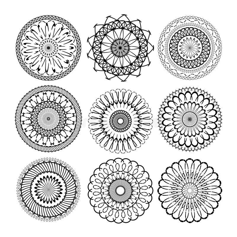 Relaksuje mandala ustawiający Abstrakcjonistyczni etniczni wzorcowi mandalas mandalas z powtórka okręgu round geometrycznym ornam ilustracja wektor