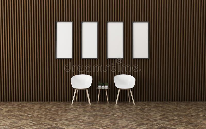 Relaksuje przestrze? w domu Biały pokój z krzesłem wn?trze nowoczesne projektu ilustracja wektor
