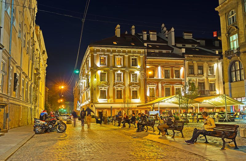 Relaksuje w evening Lvov obraz stock
