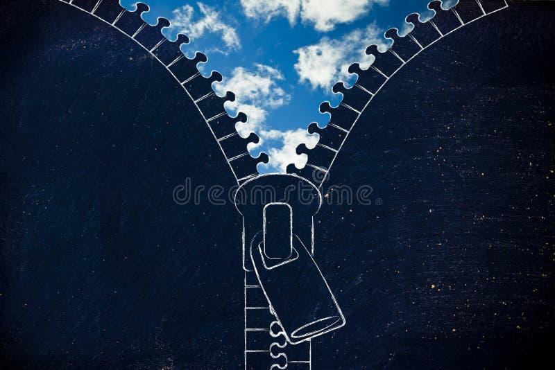 Relampague la apertura en un cielo azul, metáfora del optimismo foto de archivo libre de regalías