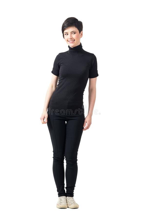 Relance de Sideway da mulher flirty feminino lindo foto de stock