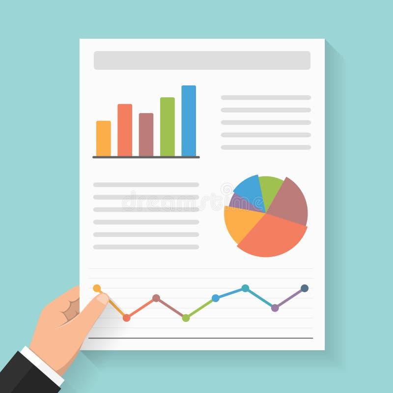 Relatório comercial com gráficos ilustração do vetor
