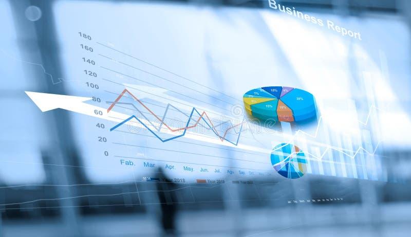 Relatório comercial e análise de dados das vendas em trabalhos em rede, na relação abstrata, e na carta do gráfico do crescimento ilustração royalty free
