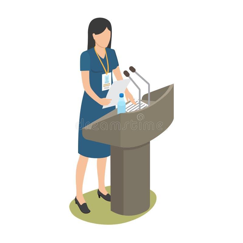 Relatório da jovem mulher na conferência de negócio ilustração stock