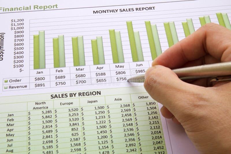 Relatório de vendas anuais imagem de stock