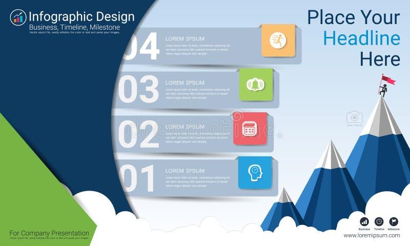 Relatório do infographics do negócio, espaço temporal do marco miliário ou mapa de estradas com opções do fluxograma de processo  ilustração royalty free