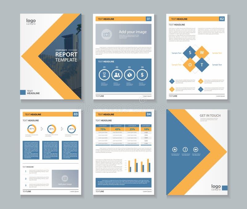 Relatório do perfil da empresa do negócio e molde da disposição do folheto ilustração stock
