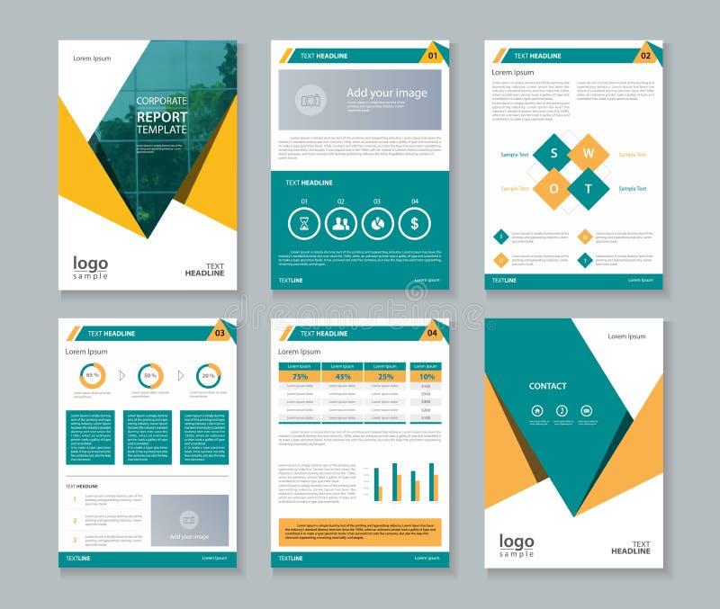 Relatório do perfil da empresa do negócio e molde da disposição do folheto ilustração do vetor