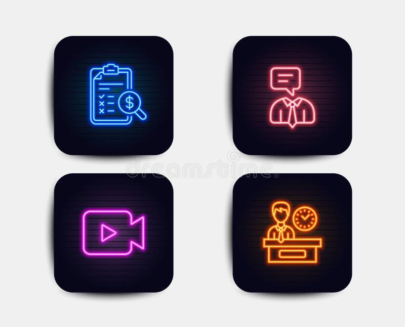 Relatório do serviço de assistência, explicar e ícones da câmara de vídeo Sinal do tempo da apresentação Vetor ilustração stock