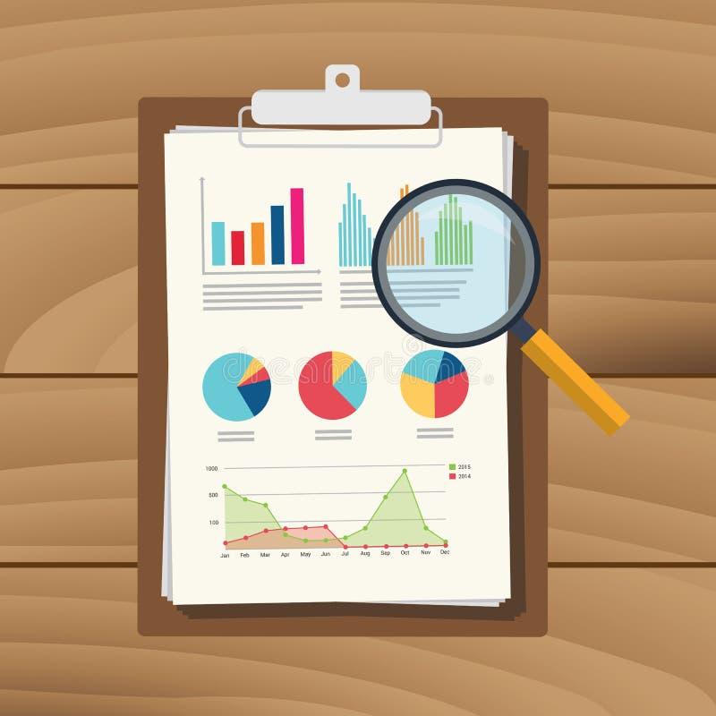 Relatório financeiro da finança do original de papel do resultado da análise de dados do gráfico da auditoria com lupa ilustração do vetor