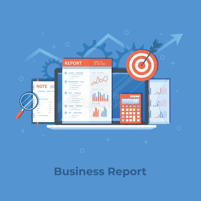 Relatório financeiro, resultados de negócio, cálculo da auditoria da análise de planeamento da pesquisa da inspeção Portátil, ori ilustração royalty free