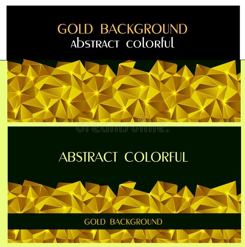 Relatório geométrico do folheto do molde de tampa do fundo do ouro do triângulo colorido abstrato Bandeira do projeto moderno ilustração stock