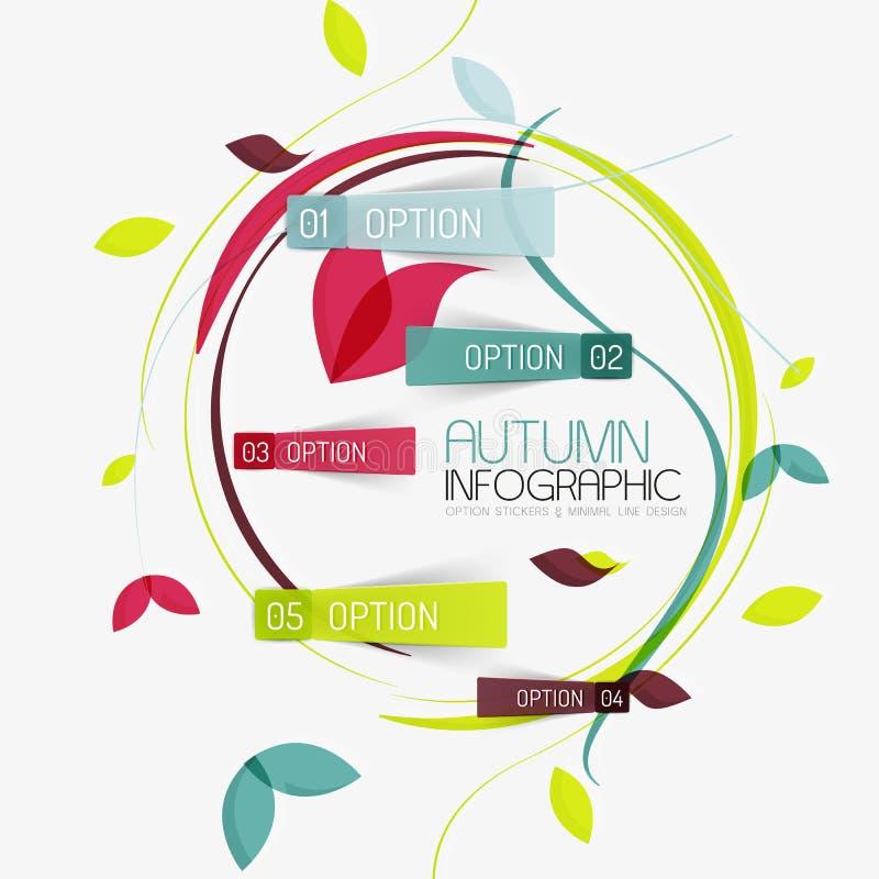 Relatório infographic do outono floral do redemoinho, mínimo ilustração stock