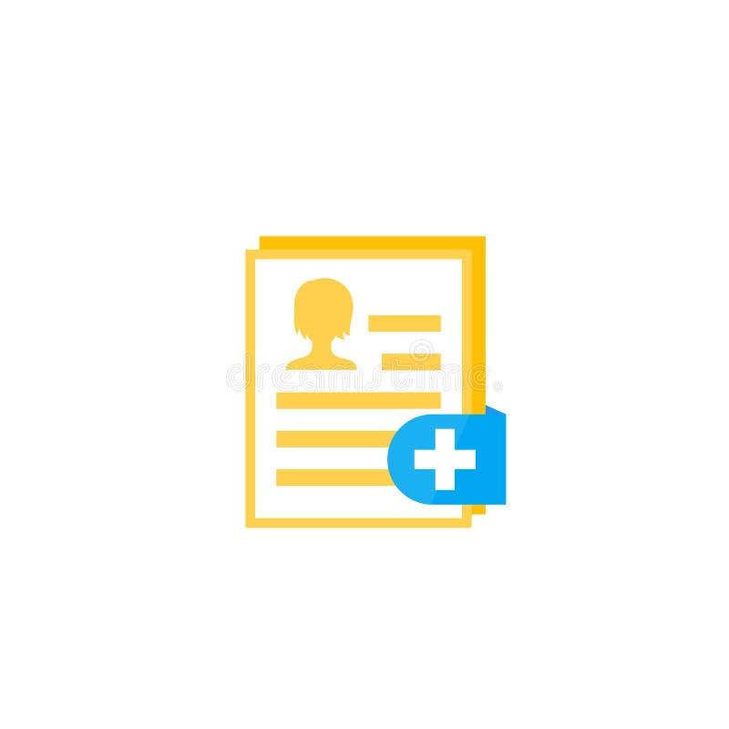 Relatório médico, ícone clínico do registro no branco ilustração royalty free