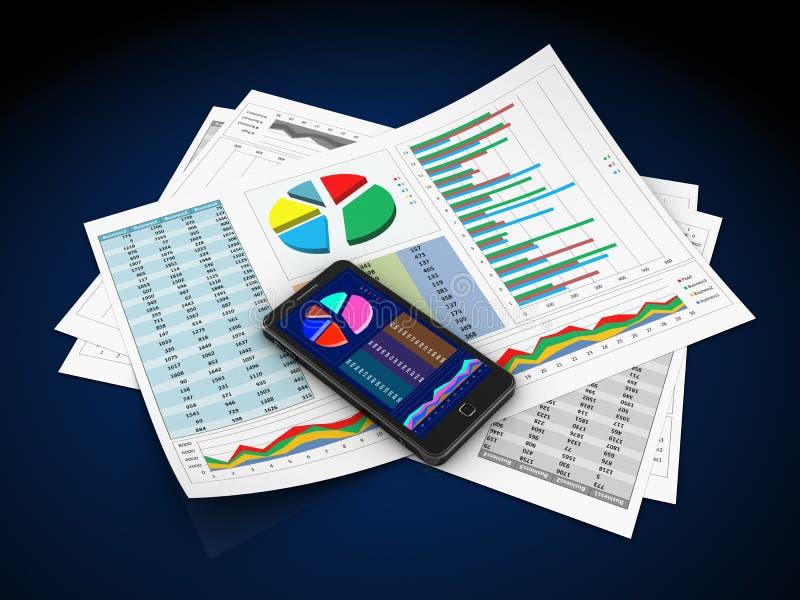 Relatórios comerciais ilustração stock
