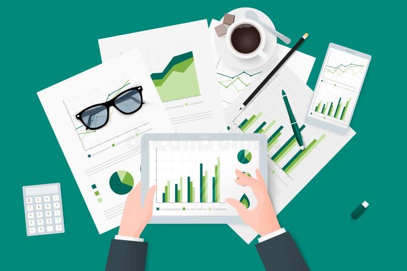 Relatórios comerciais na folha de papel, em dispositivos eletrônicos e móveis modernos ilustração royalty free