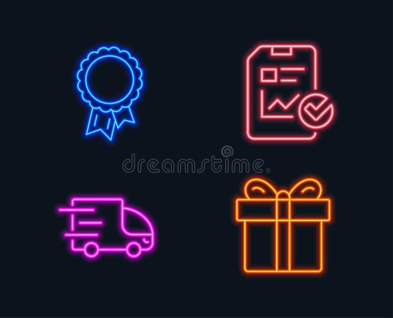 Relate a lista de verificação, a entrega do caminhão e os ícones do sucesso Sinal da caixa de presente ilustração royalty free