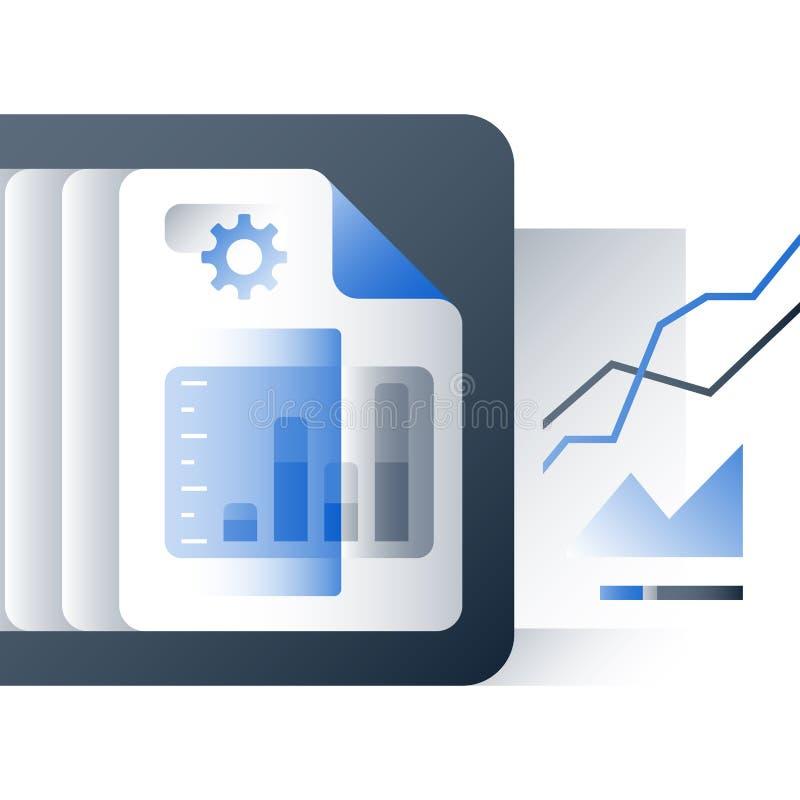 Relate o gráfico, dados grandes que analisam, crescimento do rendimento do negócio, relatório de desempenho do portfólio de inves ilustração do vetor