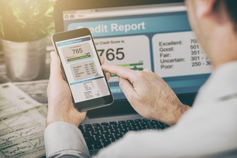 Relate a operação bancária da pontuação de crédito que pede o formulário do risco da aplicação imagem de stock