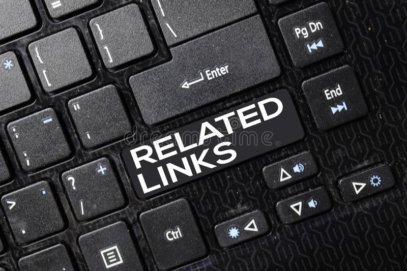 Related Links isolated on laptop keyboard background stock photo