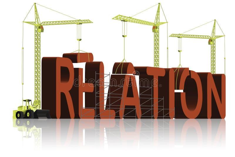 Relation building find partner love relationship. Relation build relationship in love friendship or business Tower cranes building red 3D word stock illustration