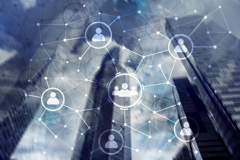 Relation de personnes et structure d'organisation Medias sociaux Concept de technologie d'affaires et de communications images libres de droits