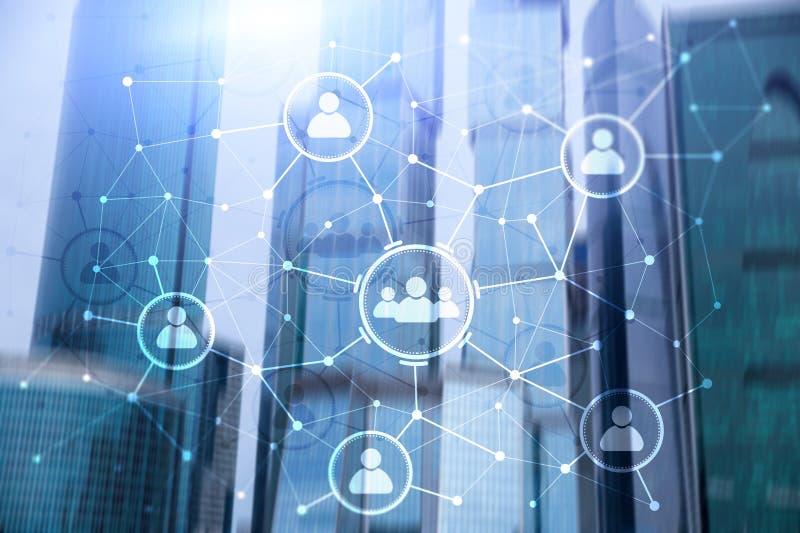 Relation de personnes et structure d'organisation Medias sociaux Concept de technologie d'affaires et de communications images stock