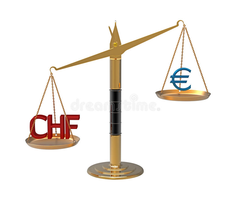 Relation Euro Swiss franc. Relation Euro to Swiss franc illustrated with scales 3d render stock illustration