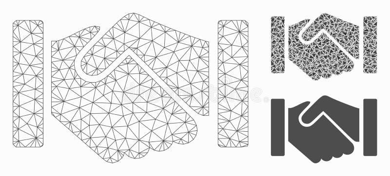 Relation Handshake Vector Mesh Carcass Model and Triangle Mosaic Icon. Mesh relation handshake model with triangle mosaic icon. Wire frame triangular mesh of vector illustration
