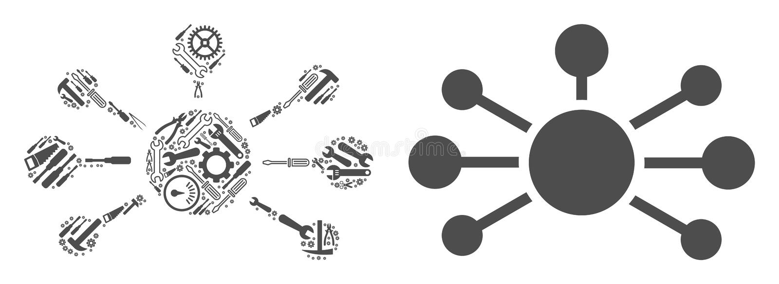 Relation Links Mosaic of Repair Tools. Relation links collage of workshop tools. Vector relation links icon is made with gear wheels, spanners and other vector illustration