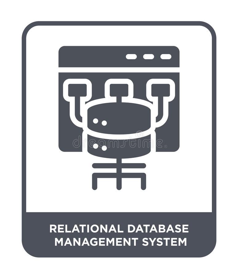 Relational Database Management Systeempictogram in in ontwerpstijl Relational Database Management Systeempictogram op wit wordt g vector illustratie