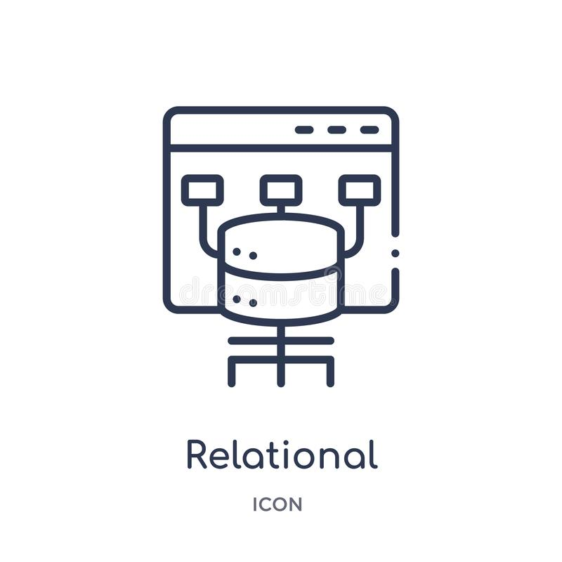 relational database management system icon from technology outline collection. Thin line relational database management system vector illustration