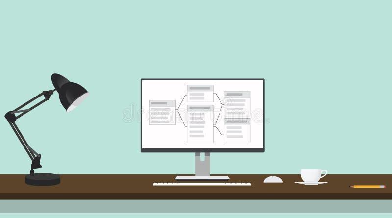 Relationele gegevensbestandlijst aangaande het scherm van computer stock illustratie