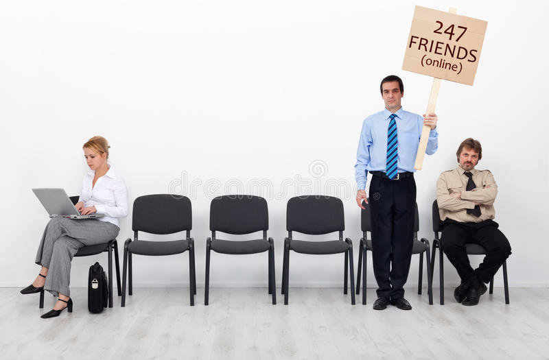 Relations in the age of technology. Concept - people standing separated stock photo