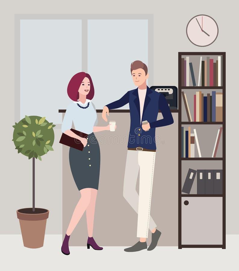 Relations au travail Croissant doux et une cuvette de café à l'arrière-plan la femme et l'homme flirtent Illustration plate color illustration stock