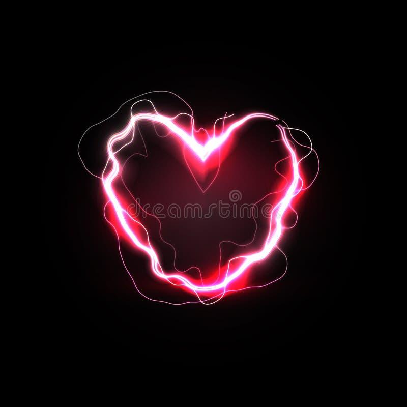 Relations chaudes, amour ardent et symbole de flambage de passion Foudre rouge dans la forme de coeur Illustration d'isolement de illustration de vecteur