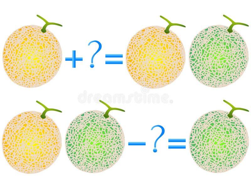 Relations d'action de l'addition et de la soustraction, exemples avec le melon de cantaloup Jeux éducatifs pour des enfants illustration de vecteur