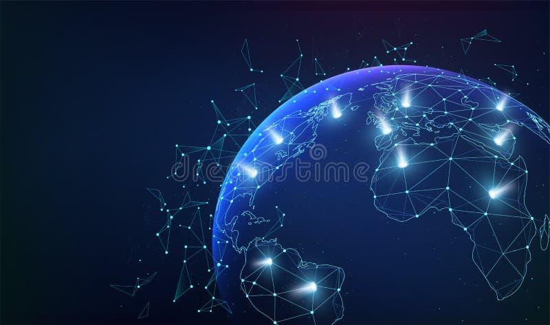 Relations d'affaires de réseau global avec des points et des flashes légers Communications de réseau de carte du monde illustration stock
