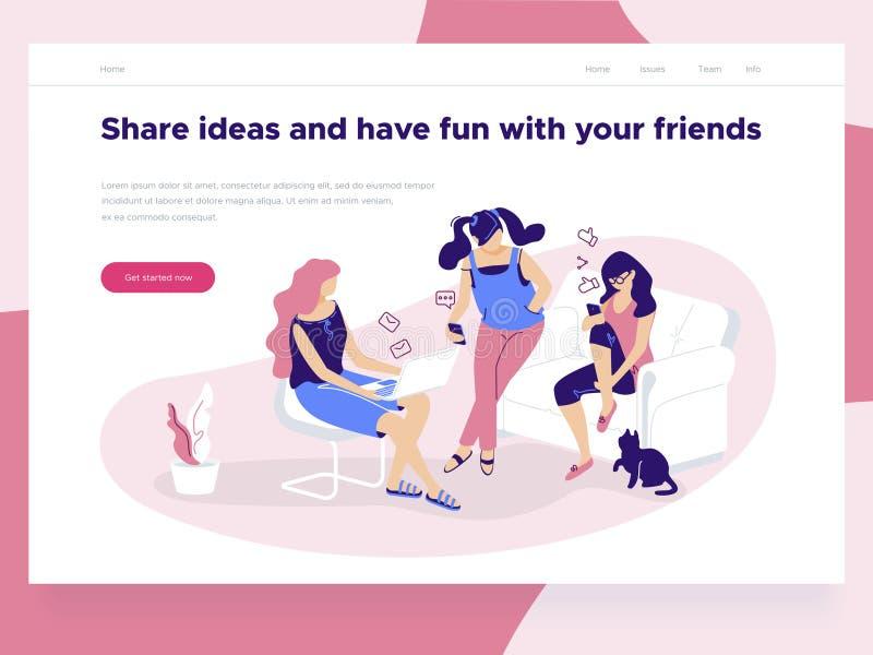 Relations, datation en ligne et concept social de mise en réseau - les filles tenant des téléphones portables causent et partagen illustration libre de droits