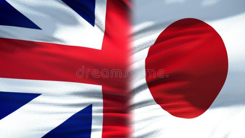 Relations de fond de drapeaux de la Grande-Bretagne et du Japon, diplomatiques et économiques photographie stock